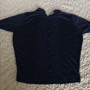 Navy Blue short sleeve sweater #129
